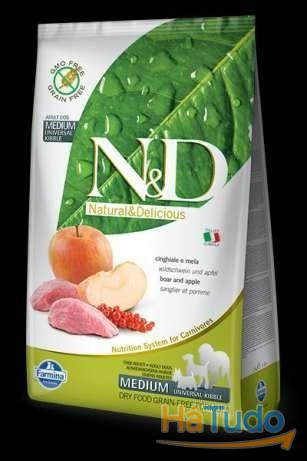 Farmina N&D (Grain Free) Adulto Medium - Javali e Maçã - 800gr
