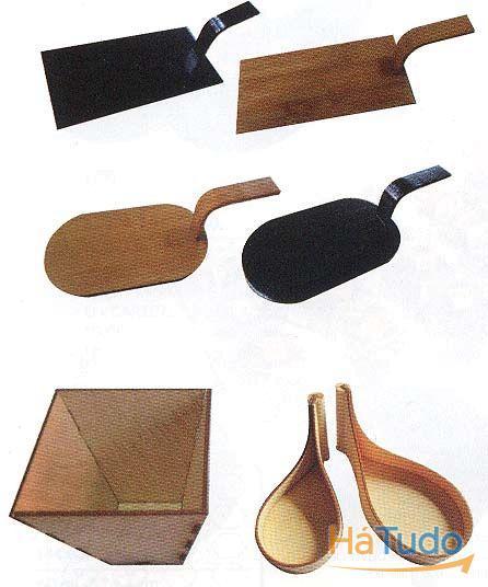 talheres e loiças de madeira